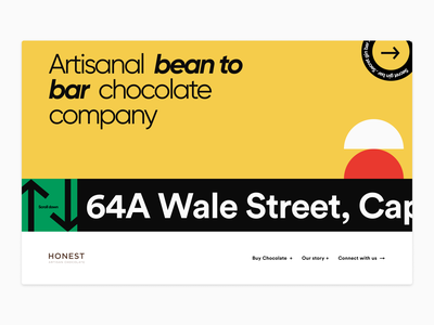Chocolate brand page exploration colourfull bright flat branding typography design vector