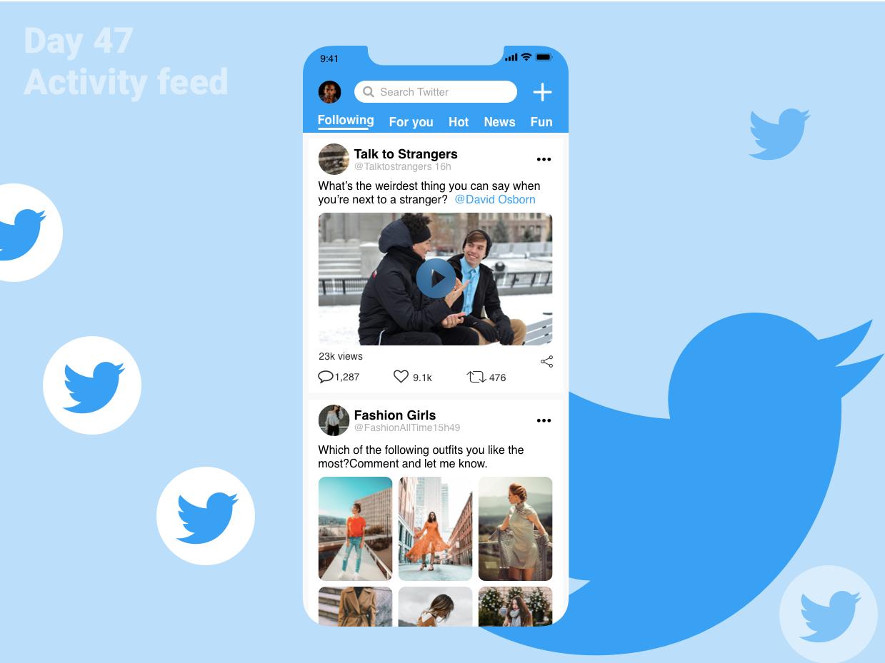 DailyUI - 047 - Activity Feed fashion twitter