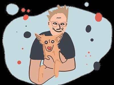 Wesley & I 🐶🤓 personal colors cartoon draw adobe portrait dog illustration body