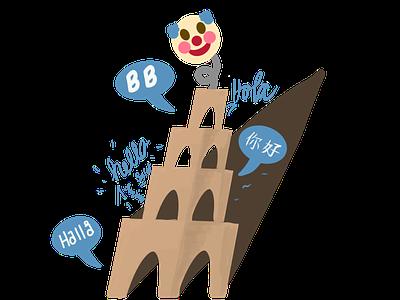Babel Box babel clown games vector design branding cartoon logo adobe illustration