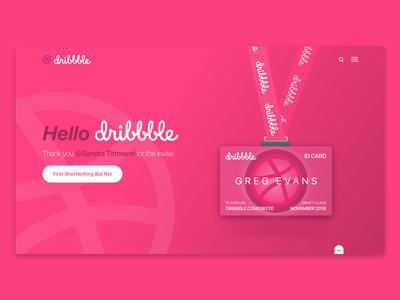 Hello Dribbble! illustration lanyard firstshot ui ux first hello web id card dribbble landing page first shot debut debut shot