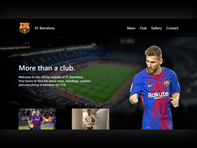 FC Barcelona Landing Page football club messi football landing page soccer fc barcelona barcelona