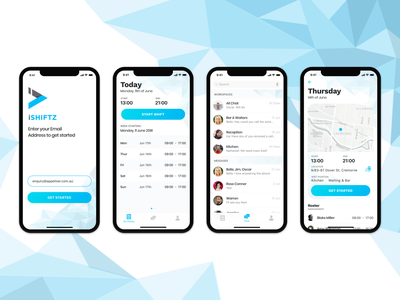Workplace Rostering App Design workforce mobile minimal clean enterprise ux gps tracking shifts workload deputy wrike android branding rostering location iphonex ios ios app design app
