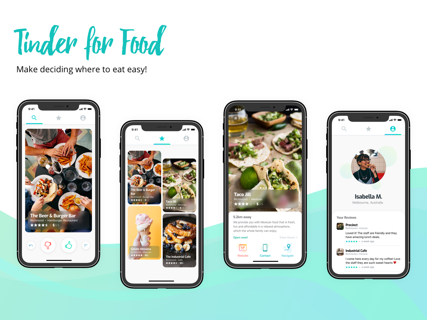 Tinder for food! gradient concept design apple green app clean ui cards ios mobile tinder foodapp food app food