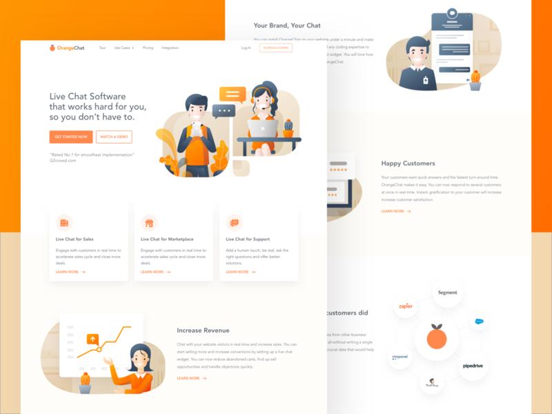 OrangeChat Landing Page orange customer service live chat chat bot landing page ui illustration