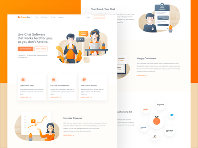 OrangeChat Landing Page orange customer service live chat chat bot landing page ui illustration