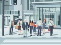 People Crossing Street Illustration