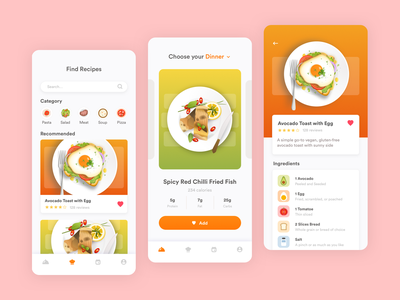 Illustrations for a Food App ingredients illustration dish diet mobile app food