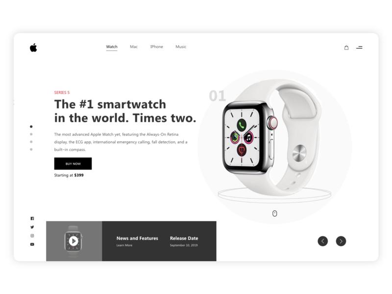Apple watch - Series 5 minimalist minimal typograhy apple watch watch clean design uidesign ui landing page apple watch design clean design