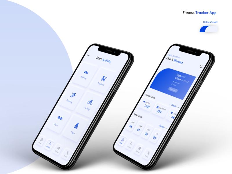 Fitness Tracker App fitness app adobe xd mockup typography ux branding app ui uidesign design mobile ui