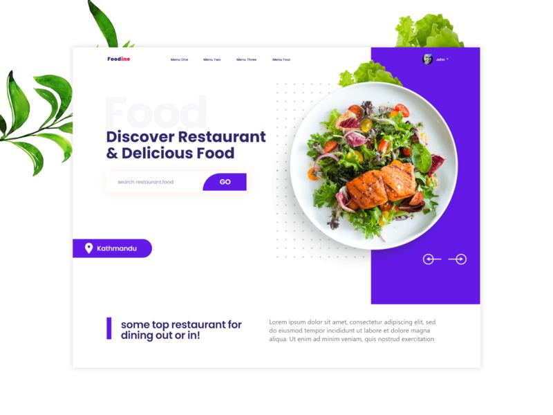 Foodine | Landing page concept design online ordering resturant hotel food adobe xd ux ui landing page design typography branding landing page landingpage design