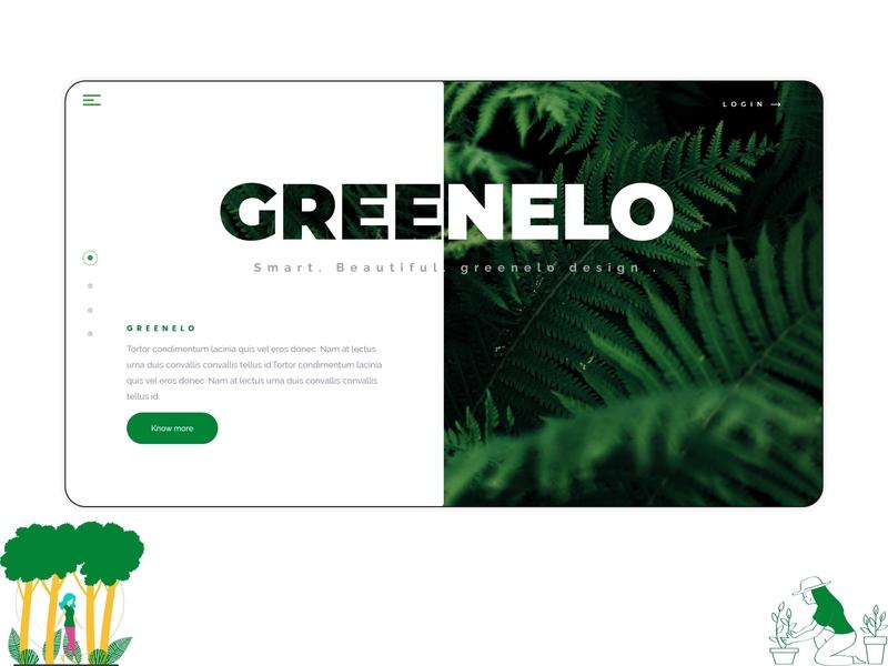 Greenelo | Landing page design nature illustration nature green adobe xd ux landing page design ui landing page landingpage illustration uidesign design