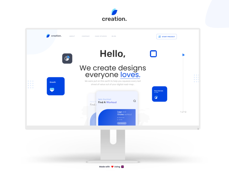 Creation | Product Landing Page Concept website webdesign web landing page ui interface homepage typography adobe xd ux landing page design landing page landingpage uidesign design