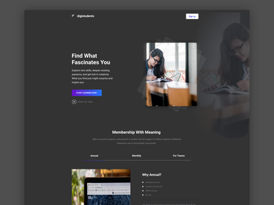 Online Learning Platform | Design Challenge 2021 branding official playoff weekly warmup landing page design landing page ui landingpage uidesign design