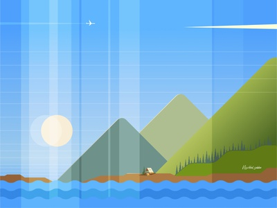 Mountain Peaceful Landscape Scene ocean nature mountain vector weekly challenge weekly warm up landscape peaceful landscape illustration