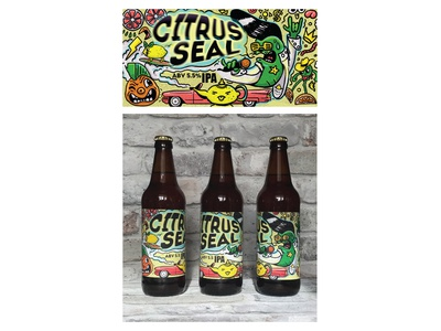 "Label for new crafrt beer ""Citrus Seal"" by Drunk Seal"