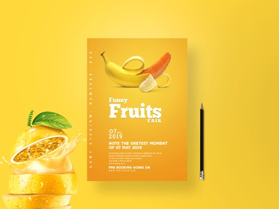 Fruit Flyer design typography logo flyer bi-fold business flyer awesome nice restaurant food design company clean banner design brochure advertisements creative branding corporate flat fruit