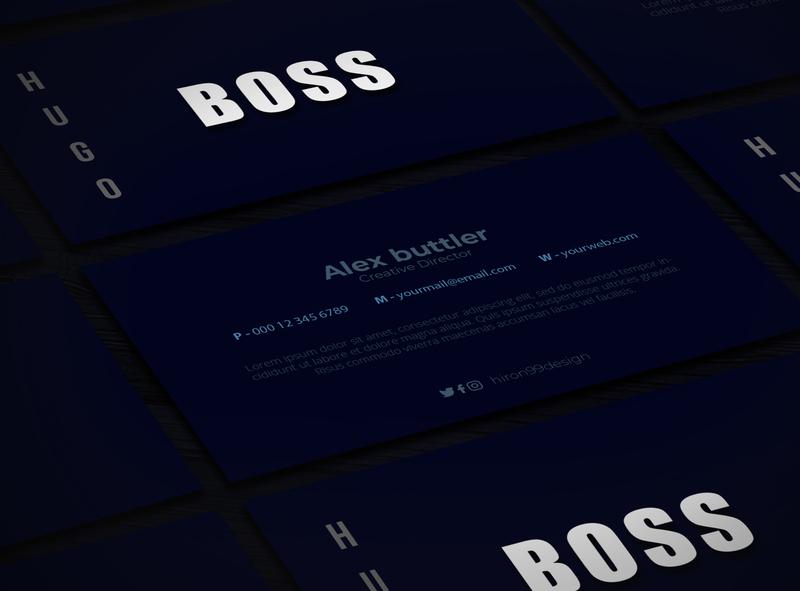 Blue flat business card