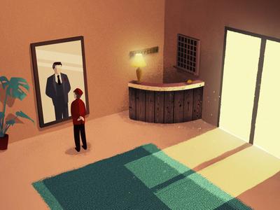 Dreamy Lobby Boy illustrate conceptual illustration hotel illustrated design lobbyboy vector illustration