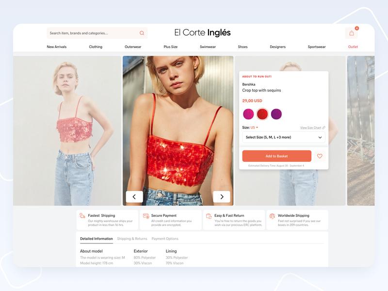Fashion E-Commerce - Product Detail female women product page product detail product clothing brand homepage fashion e-commerce ecommerce clothing