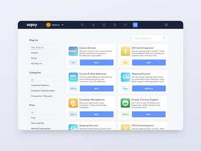 Sopsy: E-Commerce add-ons screen shopify shopping ecommerce e-commerce plugin add-on extension store