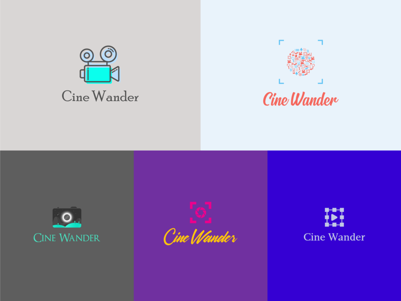 Cine Wander Logo Options tools line art illustration camera lens lens shutter minimal editing camera logo scenery video editor camera wander cine photography logo cinematography logo
