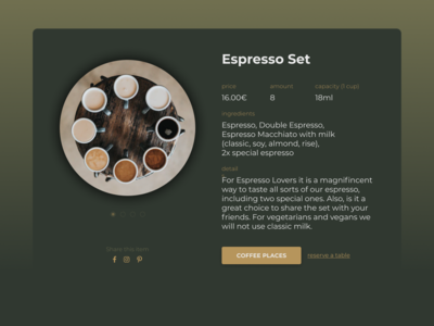 Single Item Page for Coffee E-Commerce Shop