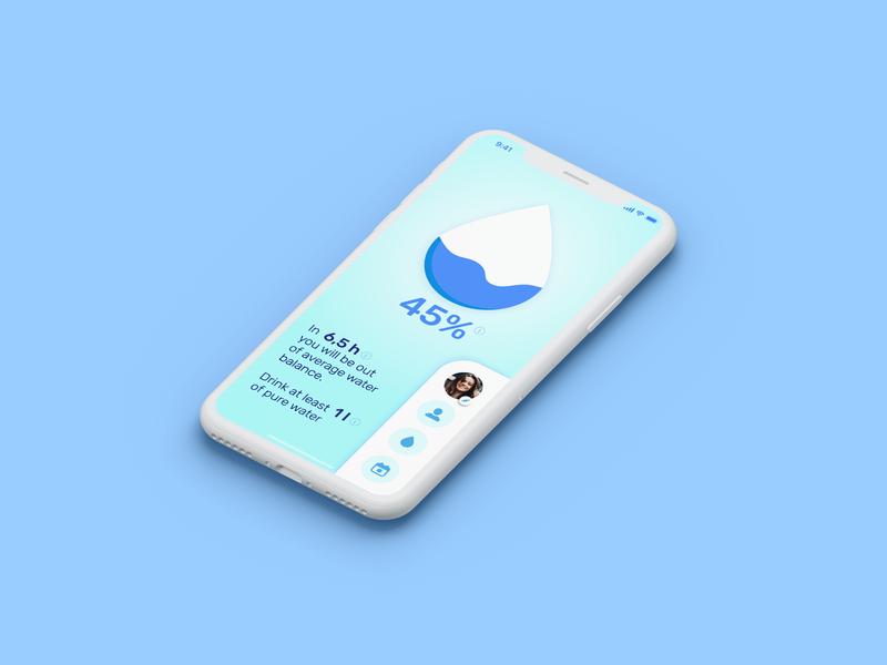 Countdown Timer for WaterApp mobile app app design blue water app water ux mockup 014 dailyui