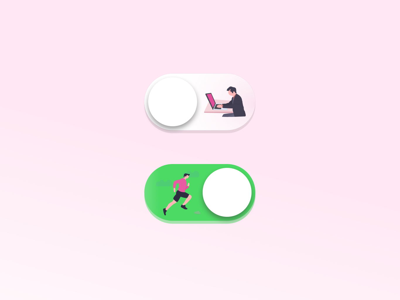 On/Off Switch illustration office work shadows running jogging buttons button ui 015 dailyui