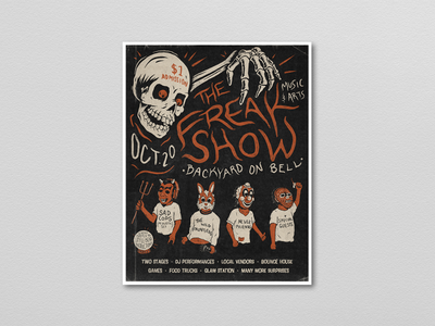 The Freak Show Music & Arts Festival Poster typography distressed retro vintage skull photoshop illustration music festival poster