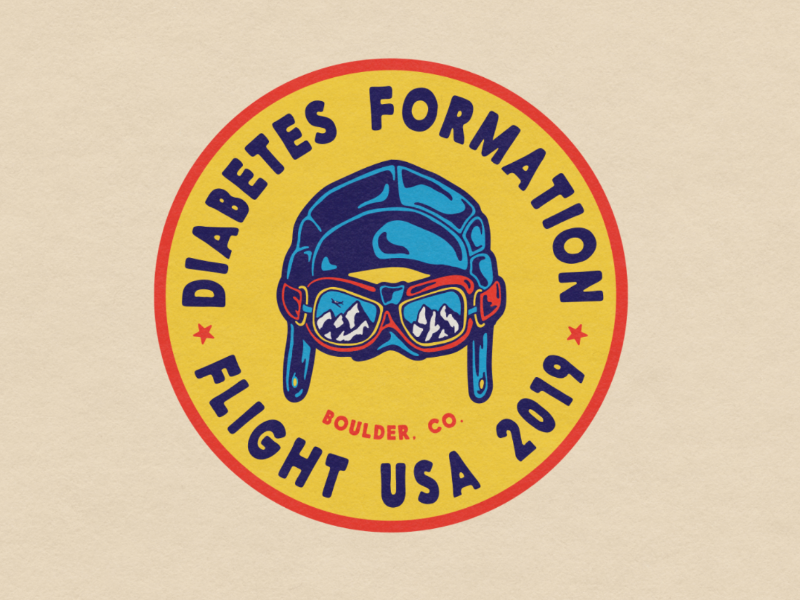 2019 Diabetes Formation Flight USA Logo graphic design illustration brand identity colorado retro vintage patch aviation badge design logo