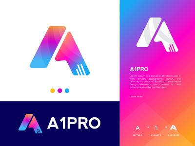 A1 Pro Logo Design number 1 a letter logo letter mark graphicdesign modern logo modernism letterlogo logos gradient creative branding applogo