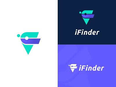 iFinder Logo Design iconic logo map icon pin finder trackers letter logos modernlogo logodesignchallenge location tracker location pin tracker app vector logos applogo logodesign creative branding logodesignersclub