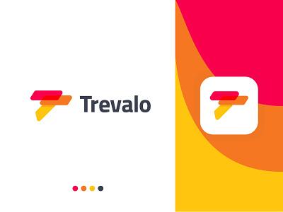 Travel Agency Logo Ideas - T logo brand  - Trevalo Logo Design modern logo app website icon red yellow company branding design vector t logo animation ui travel travel agency ahmed rumon rumzzline identity t letter logo branding creative