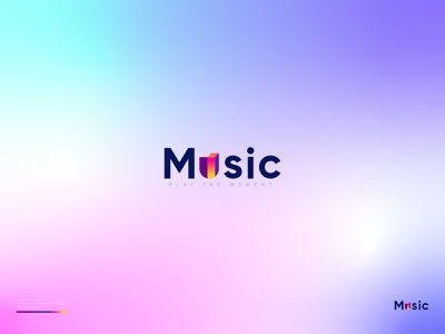 Music wordmark logo - Modern music logo - Music logo ideas ahmed rumon website modern logo design branding design logotype wordmark retro gradient love heart music colorful animation vector design ui logo rumzzline modern logo