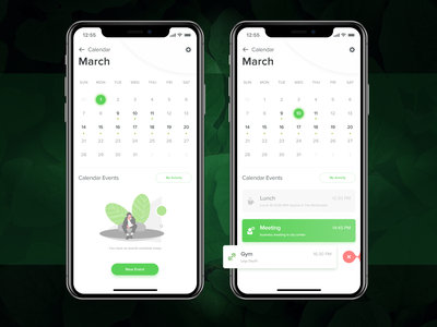 Calendar Events - Mobile App mobile green branding product illustration vector icon typography app ux ui design