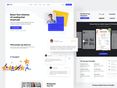 CvBuild - Resume Builder | Landing Page Design | CRO lead converion cards cv cv template blue theme white space landing page design landing page landingpage website design hero section features page testimonials resume builder website ux clean web design ui ronak chhatwal
