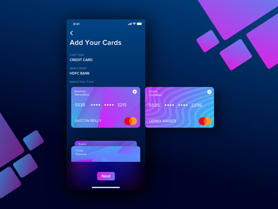 Add Card UI for Wallet App ronak chhatwal app mobile clean ios virtual card ui finance financial app payment payments app add card credit card gradient gradients night mode dark mode dark wallet app wallet