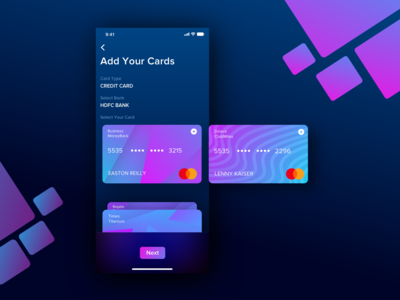 Add Card UI for Wallet App ronak chhatwal app mobile clean ios virtual card ui finance financial app payment payments app add card credit card gradient gradients night mode dark mode dark wallet app wallet