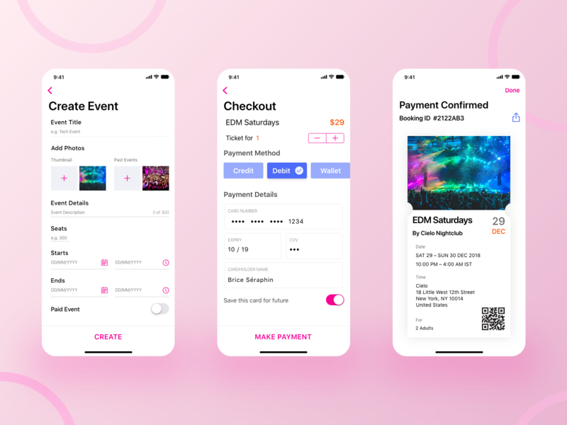 Create Event, Checkout & Ticket Slice ronak chhatwal details wallet finance event app ticketing ticket page ticket design qr code select payment payment form checkout form create event payment ux ios clean ui mobile app