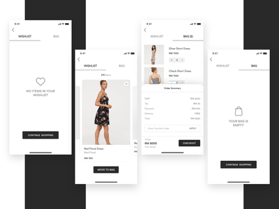 Fashion - e commerce app ronak chhatwal store product shop app shopping app luxury brand elegant branding add to bag add to cart order summary e commerce fashion app checkout app mobile wishlist cart ecommerce design ecommerce app