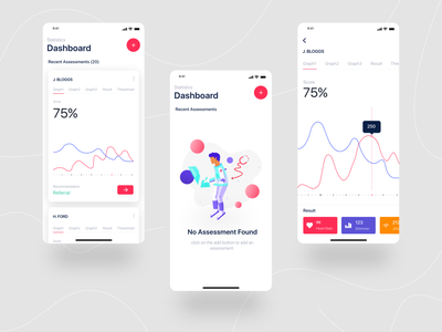 Medical App Free UI Kit - Analytics, Dashboard, Result screen ronak chhatwal empty state graph analytics medical design medical care medical app mobile dashboard dashboad typography vector ios app mobile ux ui white clean illustration