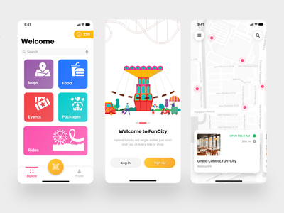 Funcity - amusement/theme park app + 1 dribble invite giveaway ronak chhatwal tiles coins menu card map map view login wallet theme park ios clean ui ux illustration