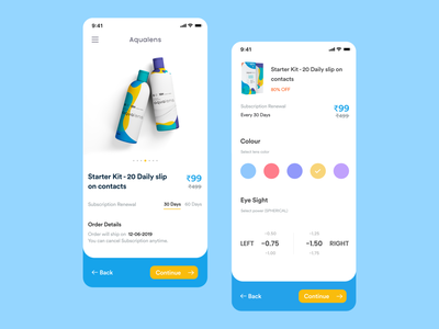 Aqualense - Redesign | Branding | e commerce app ronak chhatwal illustraion shop ecommerce design blue vector subscription picker selector color ecommerce shop branding ios clean mobile ui app add to cart ecommerce ecommerce app
