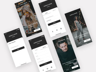 JAMIE & ANNIE - e commerce app - Onboarding | Login shopping app ecommerce luxury fashion app login page login screen onboarding walkthrough forgot password signup login typography branding app ui design ux ios ronak chhatwal mobile