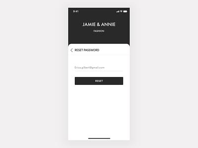 JAMIE & ANNIE - e commerce app - Onboarding   Login shopping app ecommerce luxury fashion app login page login screen onboarding walkthrough forgot password signup login typography branding app ui design ux ios ronak chhatwal mobile
