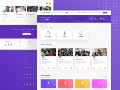 Learnmore - elearning platform learning app learning platform cards educational education app online course quiz web course elearning dashboard ui dashboard design landing page ux product design typography design clean ronak chhatwal ui