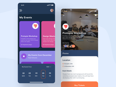 Event App dark ui dark mode modern ui modern design cards ui bookmark bookmarks calendar cards events event app event typography clean ux ui design mobile app ronak chhatwal