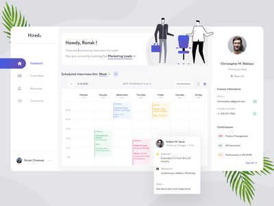 Job Manager - Dashboard application app calendar design calendar job portal job search job application whitespace dashboard dashboard design dashboard ui illustration typography webapp clean product design design ux dahsboard ronak chhatwal