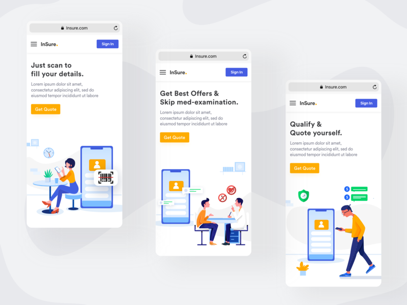 Walkthrough Screens |  Landing Page for Insurance Website illustration mobile web design clean design stepper survey call to action healthcare medical app insurance app onboarding ui walkthrough landing page ui landing page design landing page ios design ux ui ronak chhatwal